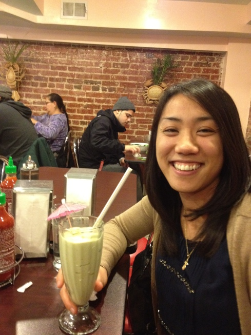 The birthday girl and her avocado smoothie!