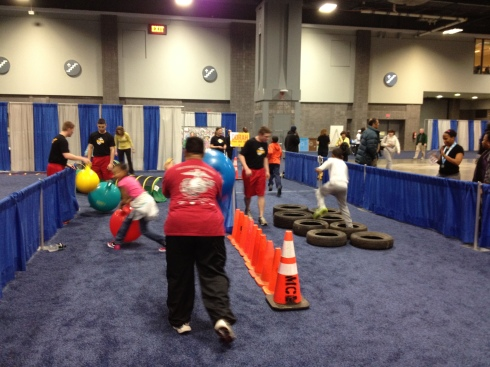 The Marine Corps Marathon children's obstacle course.